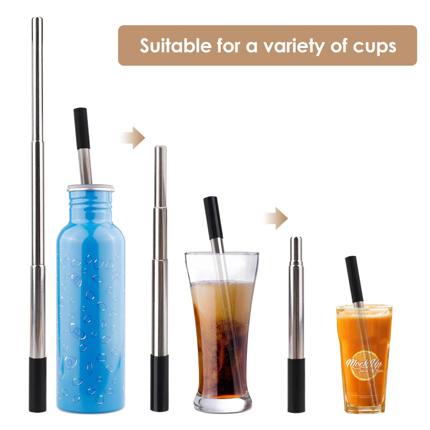 2 Pack Telescopic Straws Reusable Portable, Eco-friendly Drinking Metal Straws, Aluminum Case with Cleaning Brush for Travel Home Office Gift (Black+Gold)