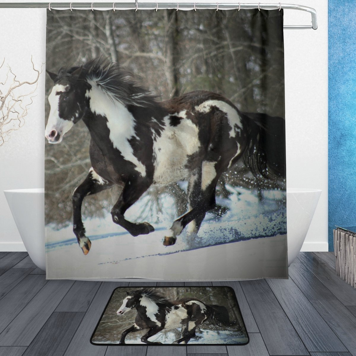 BAIHUISHOP Horse Winter Snow 3-Piece Bathroom Set, Machine Washable for Everyday Use,Includes 60x72 Inch Waterproof Shower Curtain, 12 Shower Hooks and 1 Non-slip Bathroom Rug Carpet - Set of 3