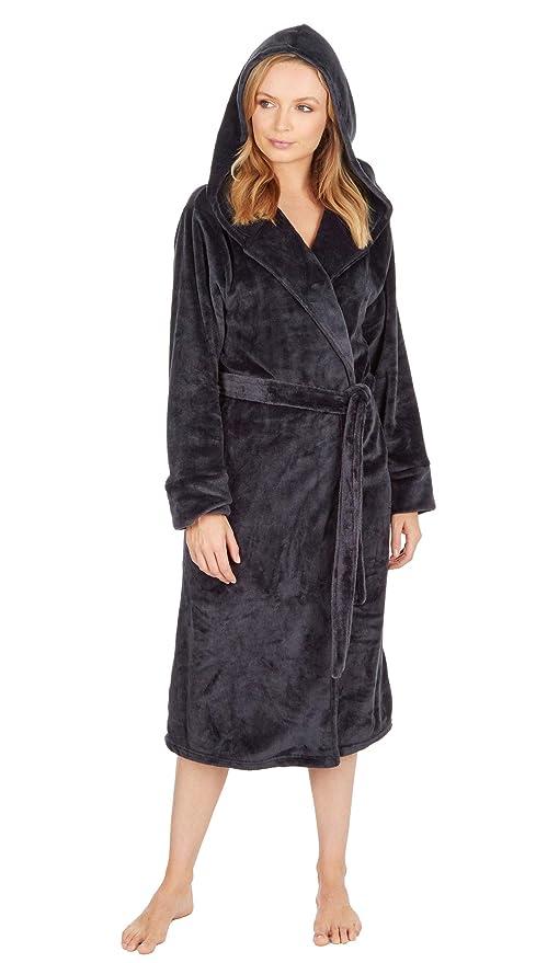 47cd93202e7a51 Damen Mit Kapuze Schimmernd Fleece Bademantel Winter Warm: Amazon.de:  Bekleidung