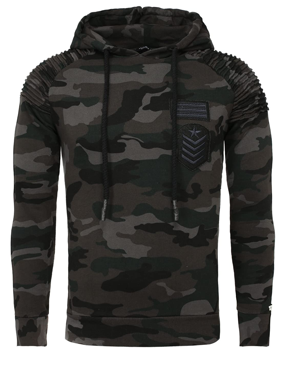 Key Largo Herren Kapuzenpullover Hoodie Section Camouflage Look Patches Geriffelt Tarnfarben
