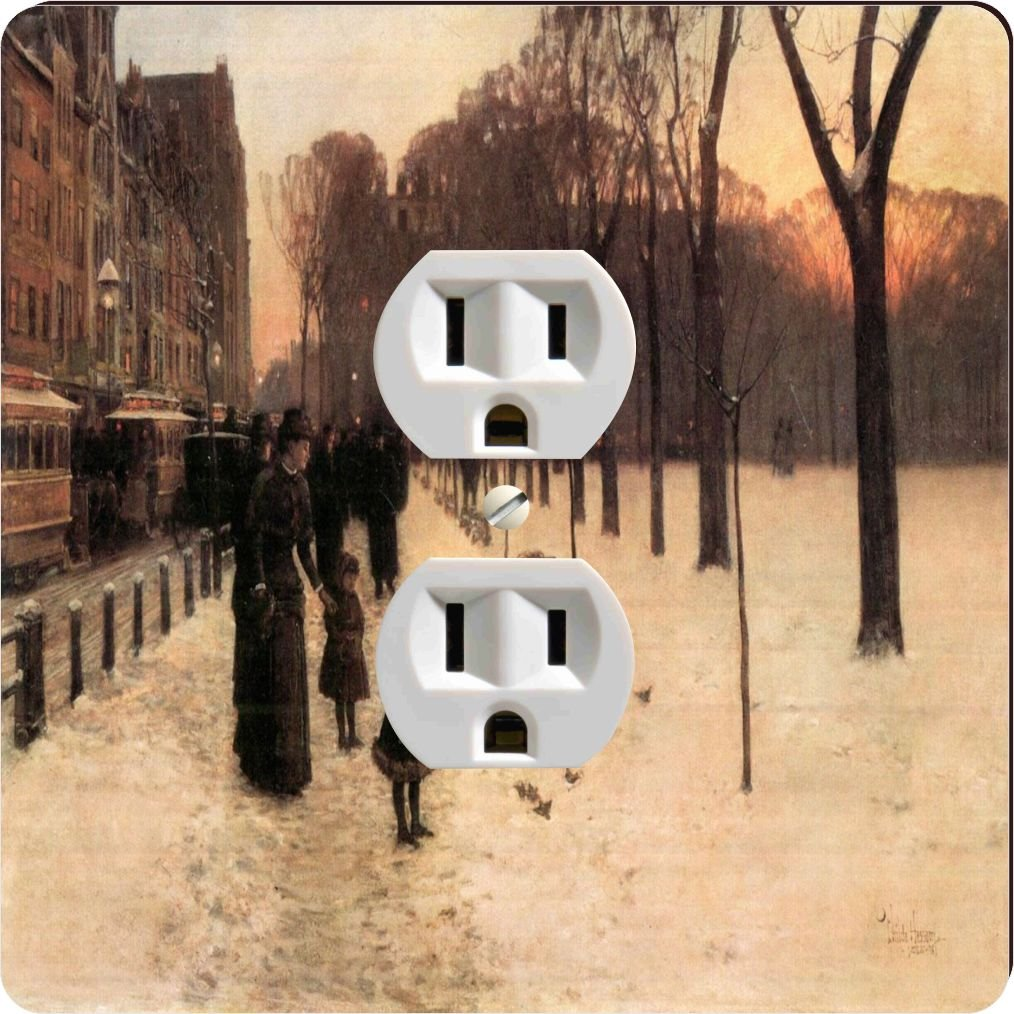 Rikki Knight 2956 Outlet Childe Hassam Art Boston In Everyday Twilight Design Outlet Plate by Rikki Knight