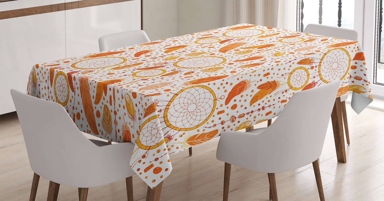 Dining Room Kitchen Rectangular Table Cover Multicolor 52 W X 70 L inches Ambesonne African Tablecloth Traditional Hand Drawn African Ethnic Pattern in Grunge Style Striped Design Print