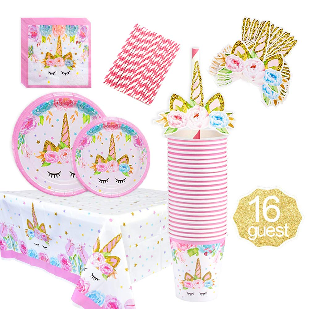 Unicorn Party Supplies Decorations Set for Girls Children Birthday Party,including Unicorn Party Cake Plates,Cups,Napkins,Tablecloth,Straws&Cup Topper,for Birthday Party,Kids Unicorn Themed Party.Serves 16 Guests