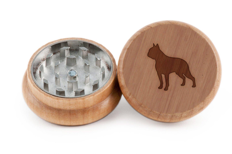 GRINDCANDY Spice And Herb Grinder - Laser Etched Boston Terrier Design - Manual Oak Pepper Grinder
