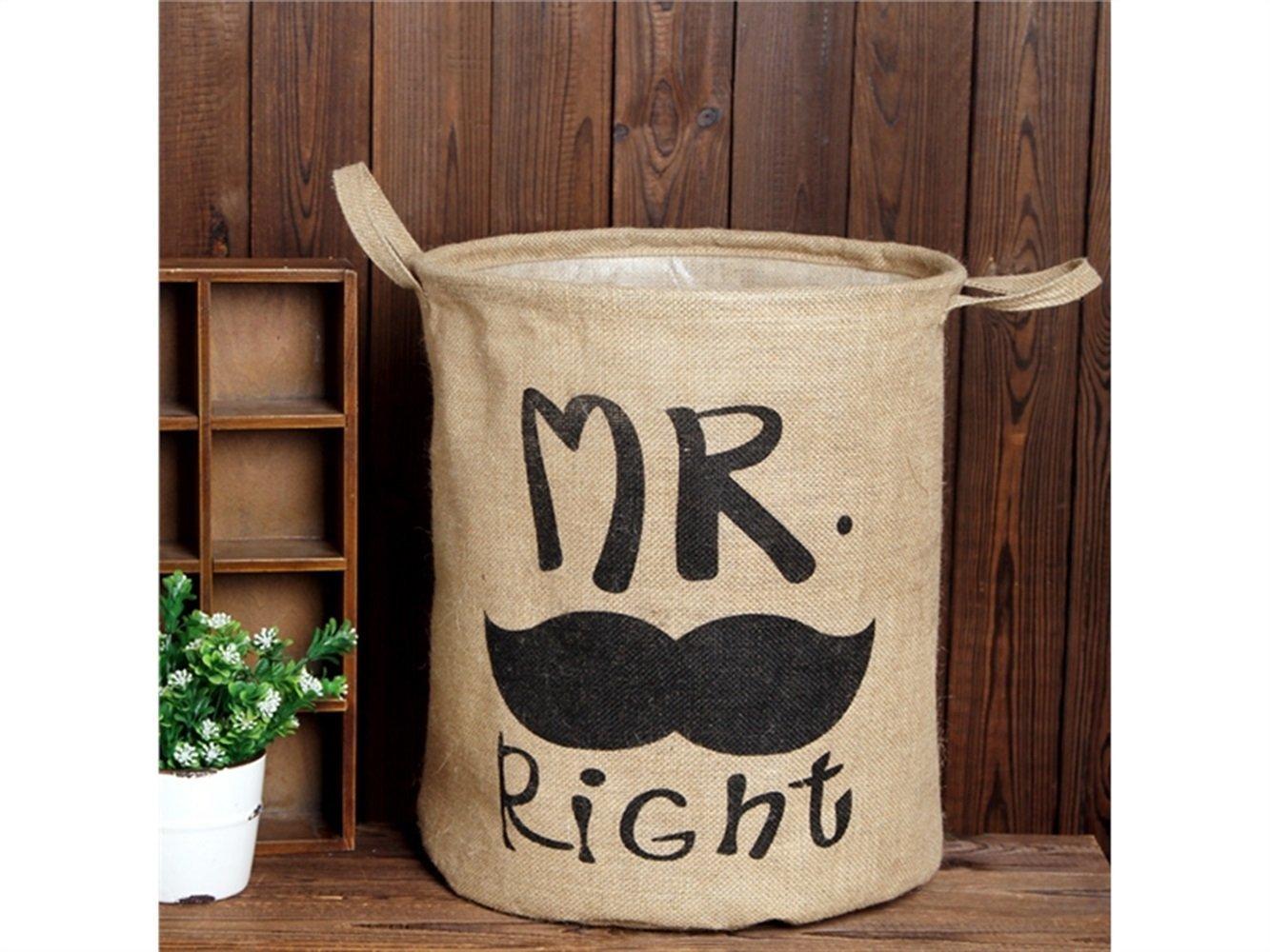 Gelaiken Lightweight Mr.Right English Alphabet Pattern Tote Storage Basket Storage Bag Cotton and Linen Storage Box(Light Brown)