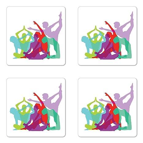 Amazon.com: Yoga posavasos juego de cuatro por Ambesonne ...