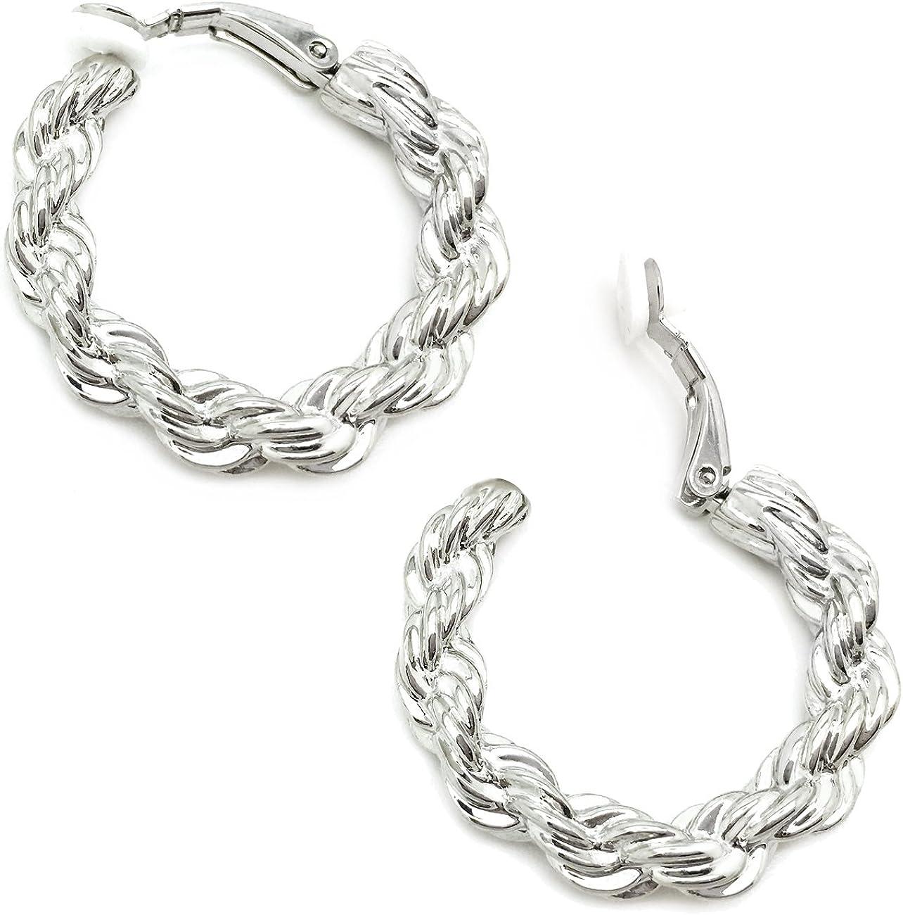 25mm Design Circle Hoop Earrings  Wedding  Jewelry Making  Rhodium Plated Brass  2pcs  ke150