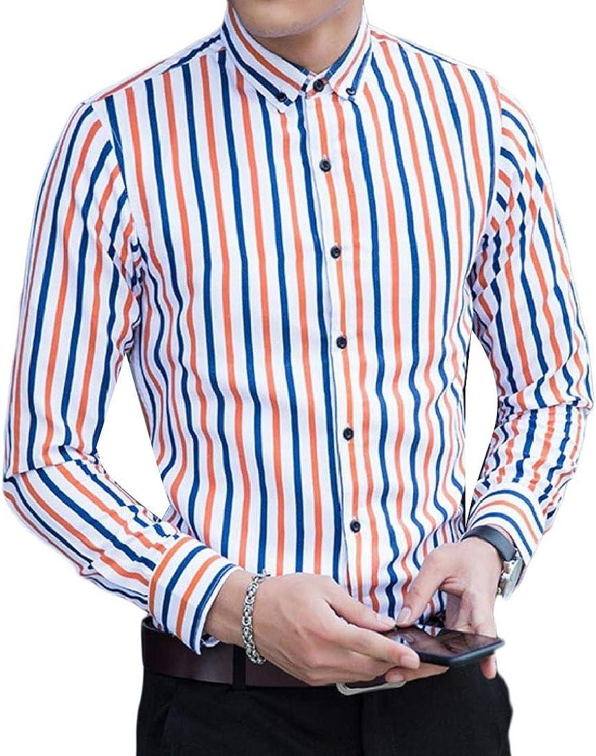 YUNY Men Button Striped Big and Tal Skinny Long-Sleeve Shirt Blouse Tops 2 3XL