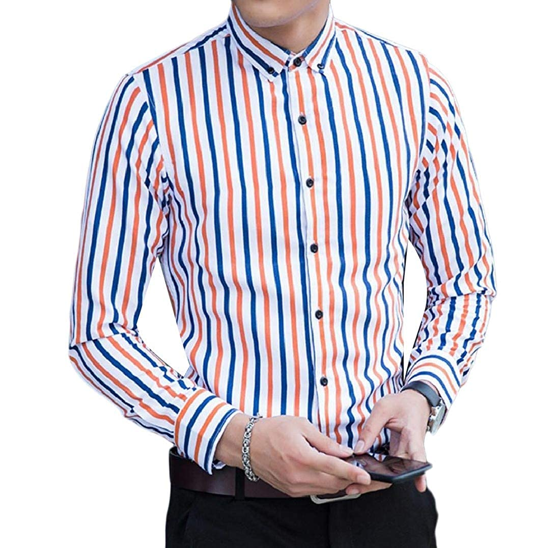 YUNY Men Button Striped Big and Tal Skinny Long-Sleeve Shirt Blouse Tops 2 L