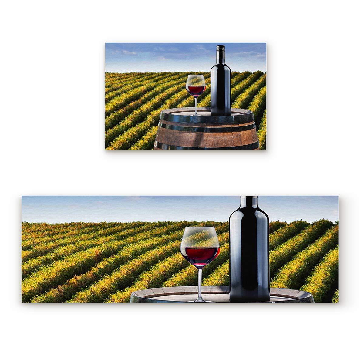 """Prime Leader 2 Piece Non-Slip Kitchen Mat Runner Rug Set Doormat Wine Farm Door Mats Rubber Backing Carpet Indoor Floor Mat (23.6"""" x 35.4""""+23.6"""" x 70.9"""")"""
