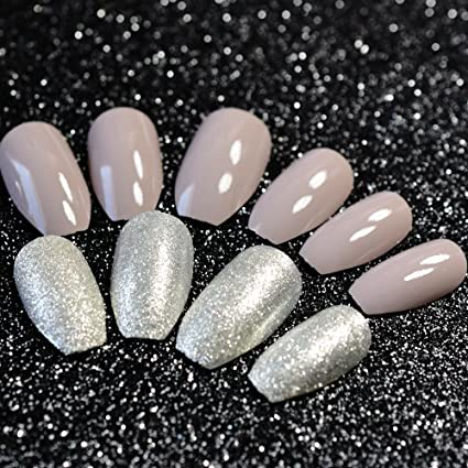 echiq brillante gris plata bailarina ataúd acrílico uñas consejos con cabeza cuadrada plata purpurina polvo uñas