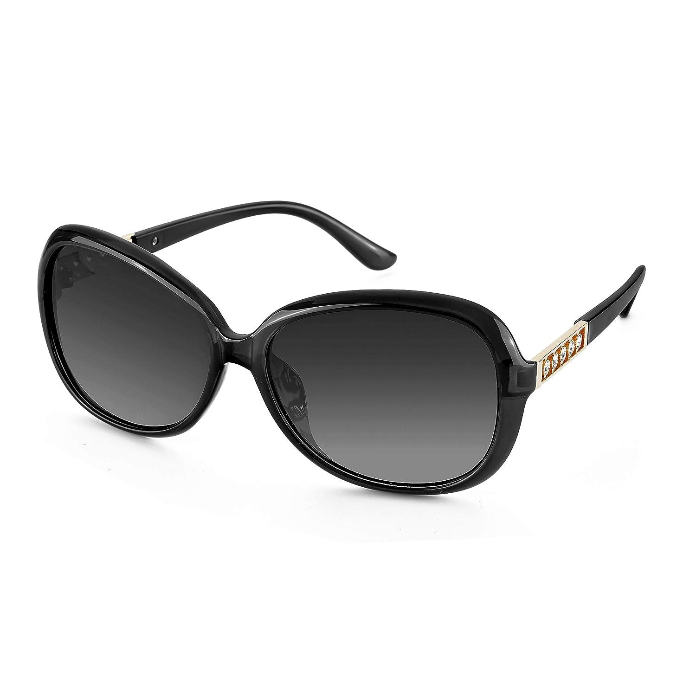 FIMILU Donna Alla Moda UV400 Lente Polarizzata Occhiali Occhiali da Sole per la Guida di Strass Decorata Cornice