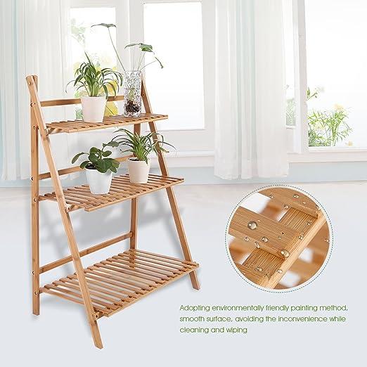 GOTOP - Estante de bambú para macetas de 3 Niveles, Plegable, Organizador de Plantas de Flores, Estante de Almacenamiento Independiente, Escalera para Exterior/Interior: Amazon.es: Jardín