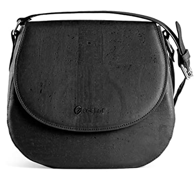 5644ee08f2 Corkor Saddle Bag for Women Crossbody Non-Leather Vegan Cork Black Color