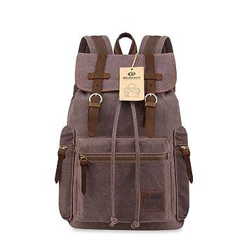 BLUBOONTM Brand New Vintage Men Casual Canvas Leather Backpack Rucksack Bookbag Satchel Hiking
