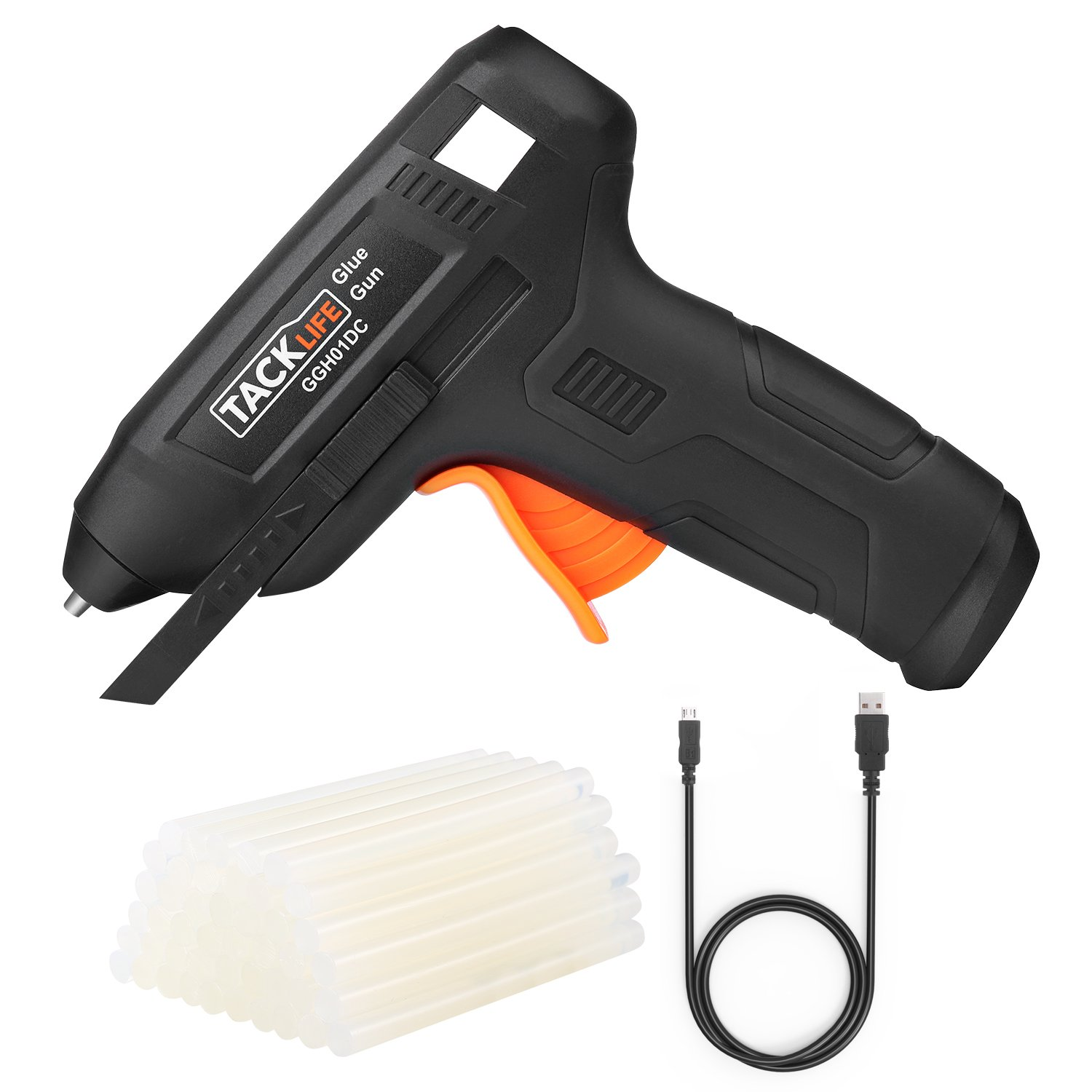 Hot Glue Gun Cordless with 50pcs Glue Sticks, Tacklife 3.6V Rechargeable Melting Glue Gun with USB Charging Cable, Seperate On/Off Switch for DIY and Repair Kit - GGH01DC