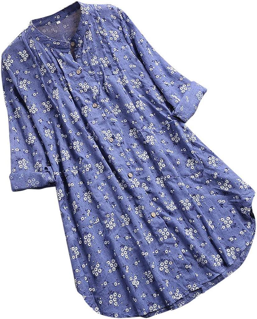 Tashioning Blusa De Manga Larga con Cuello En V Plisado Estampado Floral Y para Mujer Camisetas Largo Vintage Lino Moda Tops Blusas T-Shirt