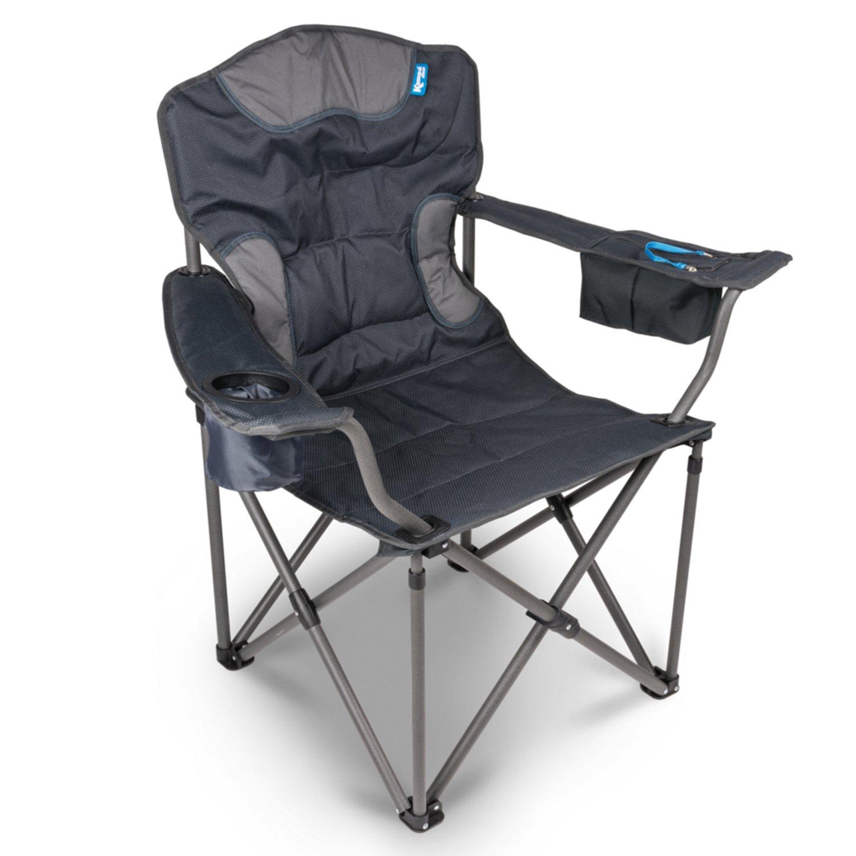 Campersten XXL Campingstuhl | EXTRA breite Sitzfläche u. hohe Tragkraft | 180KG belastbar | LUXUS Komfort Klappstuhl | Getränkehalter + Isolierfach