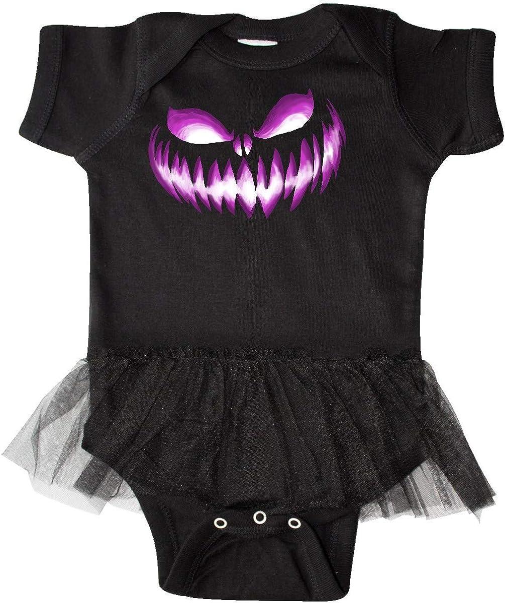 inktastic Wide Grinning Pumpkin Face in Grape Purple Glow Infant Tutu Bodysuit