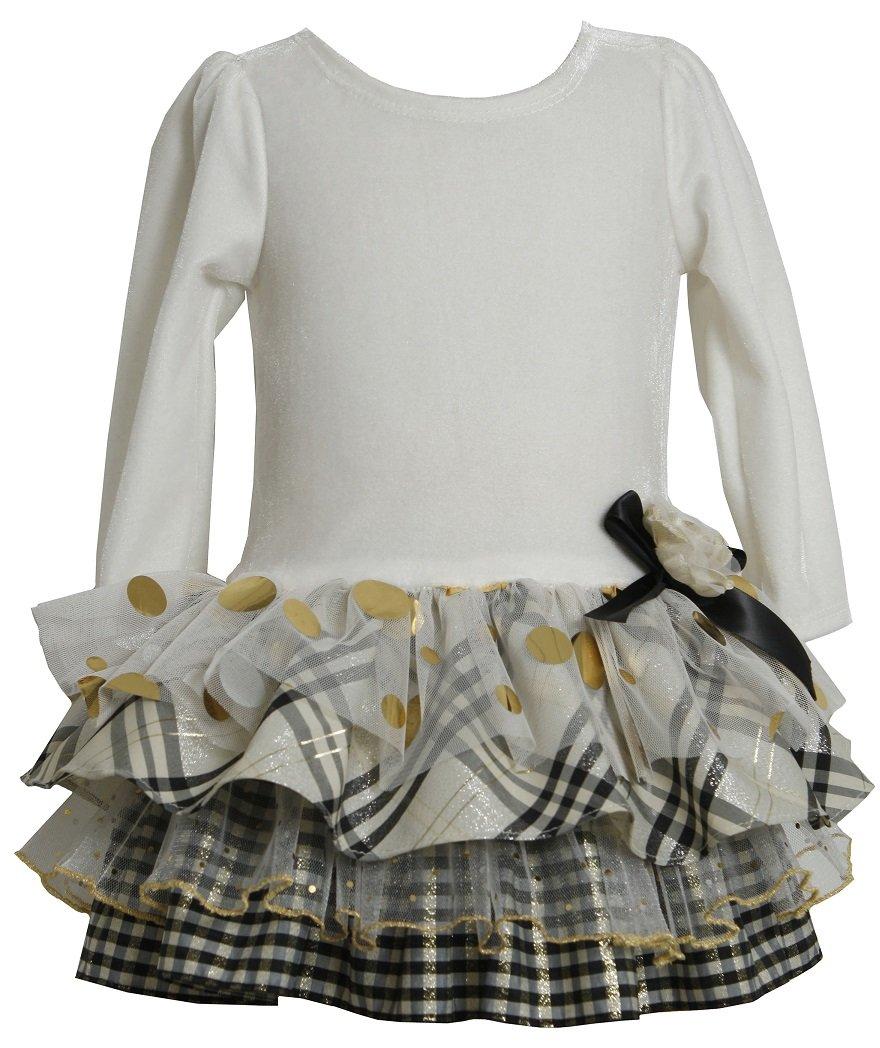 Bonnie Jean Girls Velvet Multi-Tiered Christmas Holiday Dress, Ivory, 6