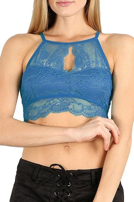 1eacf27c20e0b Amazon.com  PacificPlex High Neck Lace Bralette Top  Clothing