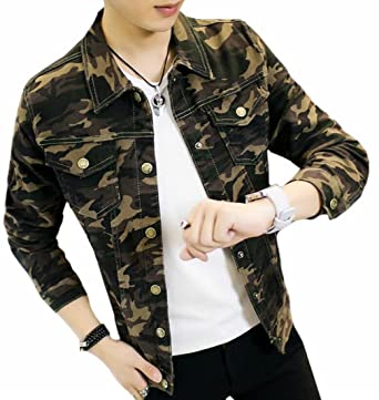 433364295c WSPLYSPJY Men s Classic Slim Fit Camo Outdoor Pockets Army Denim Jacket at  Amazon Men s Clothing store
