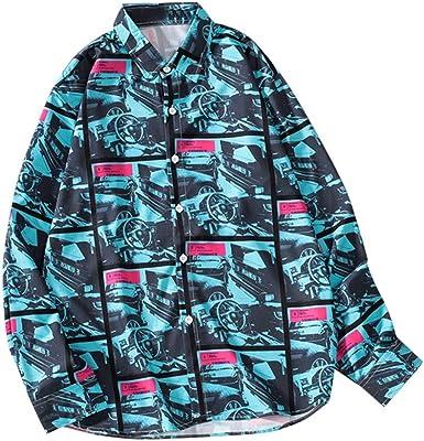 Hombres impresión Camisa Manga Larga Camisetas Hombre Originales Camisas Hawaianas Hombre Ocio Suelto Camisas de Manga Larga con Impresa de Moda de otoño para Hombre Funky Camisa Hawaiana: Amazon.es: Ropa y accesorios