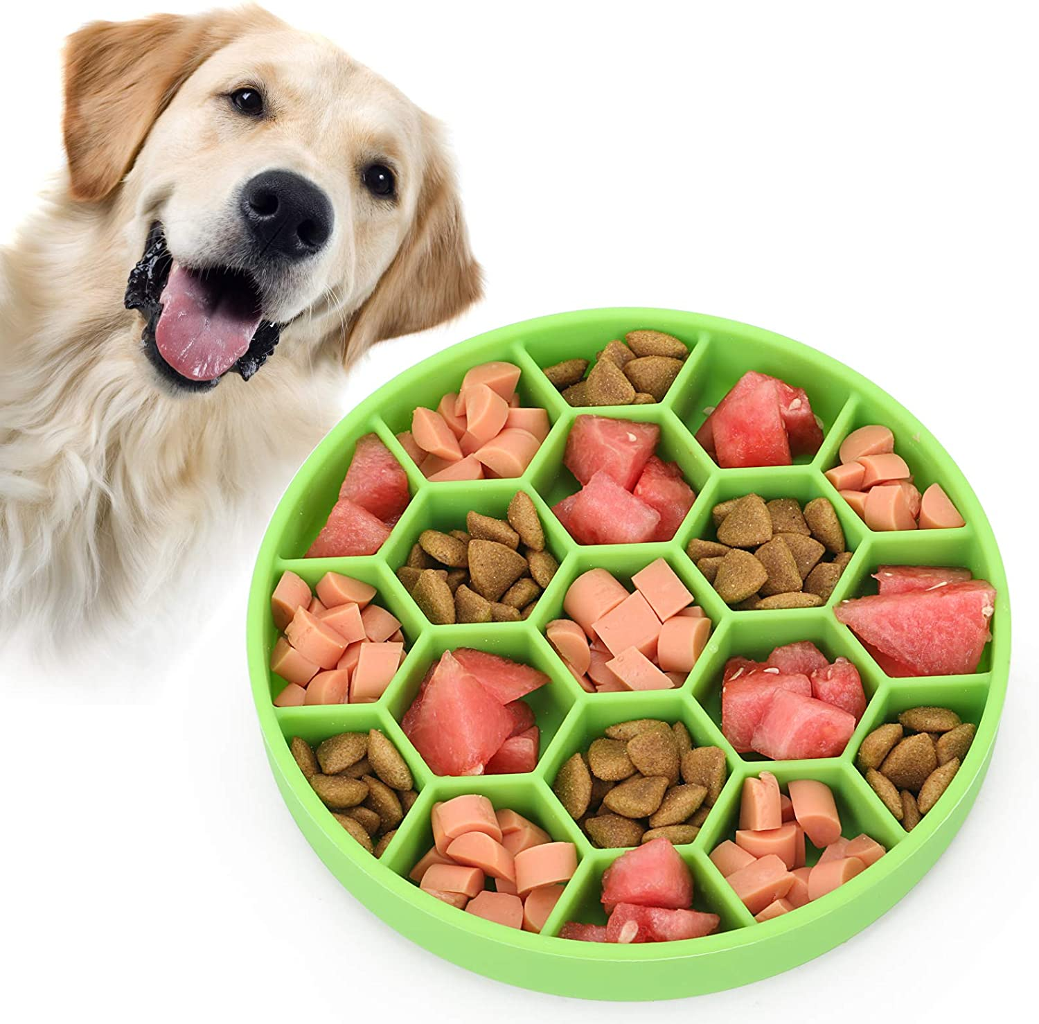 Pawow Slow Feeder Dog Bowl with Bottom Suction Cup, Puzzle Feeders Bowl Fun Feeder Interactive Bloat Stop Dogs Dish, Silicone Slow Feed Pet Food Water Bowl for Large Medium Small Dogs(Green)