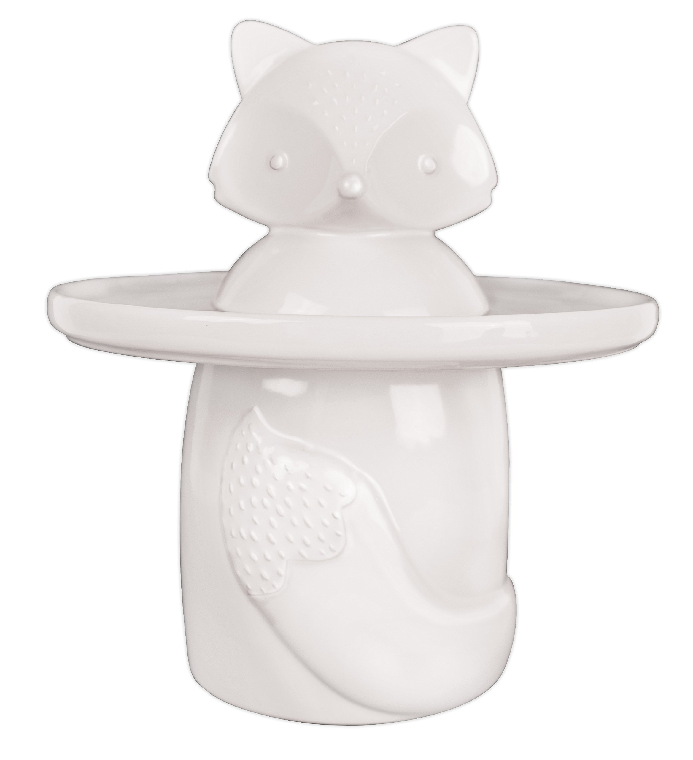 Talisman Designs 6055 Fox Party Animal Ceramic Treat Jar and Serving Tray, White