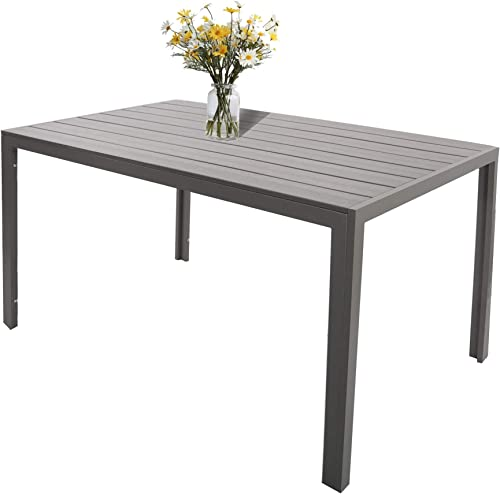 LuckyerMore Patio Dining Table Outdoor Metal Table Aluminum Rectangle Tables Heavy Duty Patio Furniture, Gray