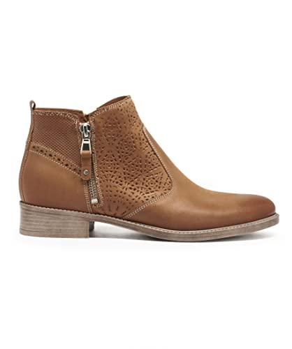 a14f7c8d1cec3 Gemo 30387720555 Boots en Cuir Double Zip Pour Femme - Camel - T39 ...