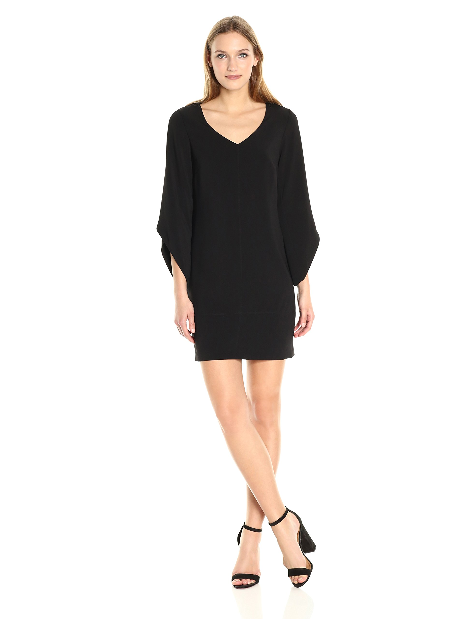 laundry BY SHELLI SEGAL Women's Tulip Sleeve Crepe T Body, Black, 2