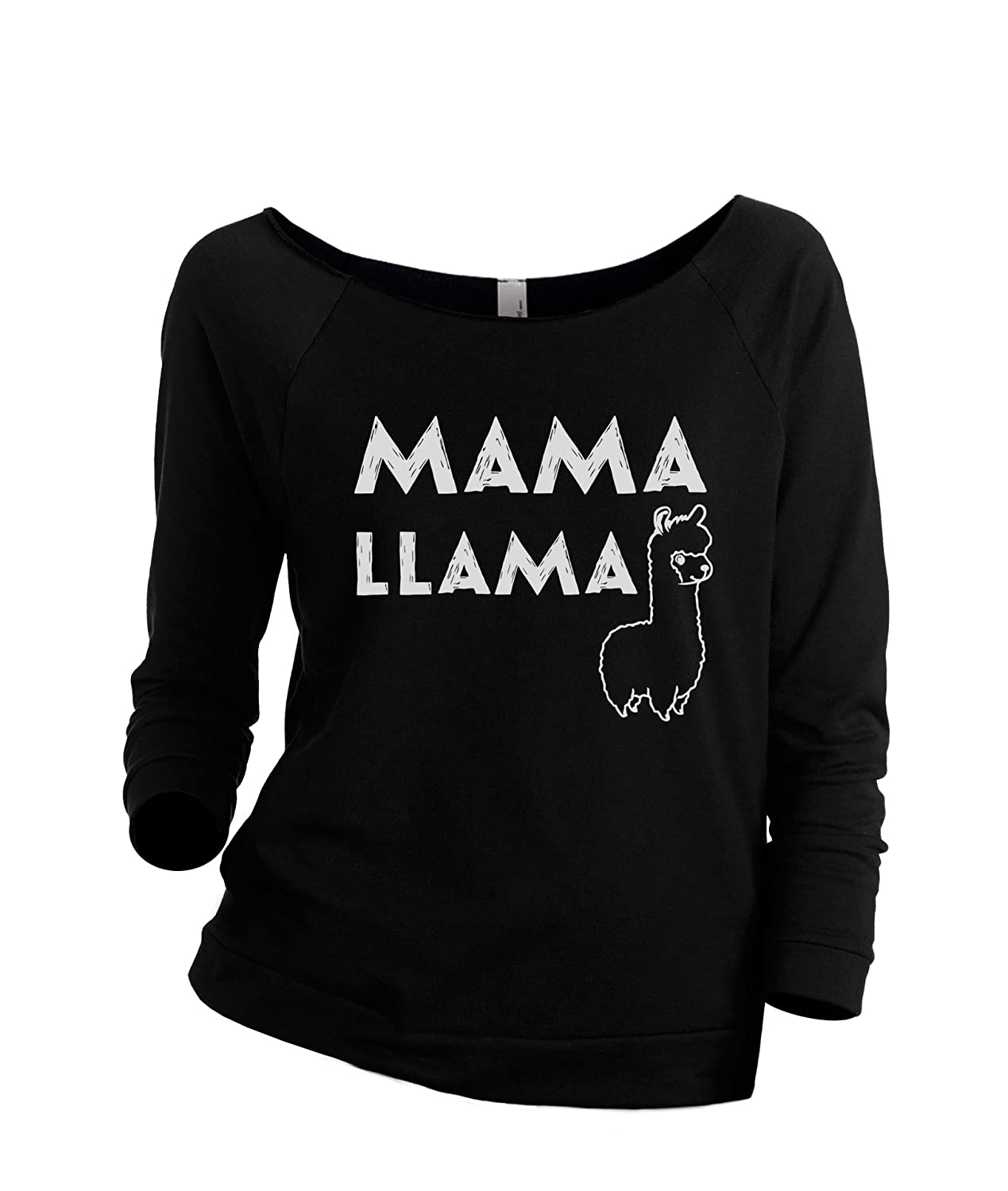 Thread Tank Mama Llama Women's Slouchy 3/4 Sleeves Raglan Sweatshirt Black