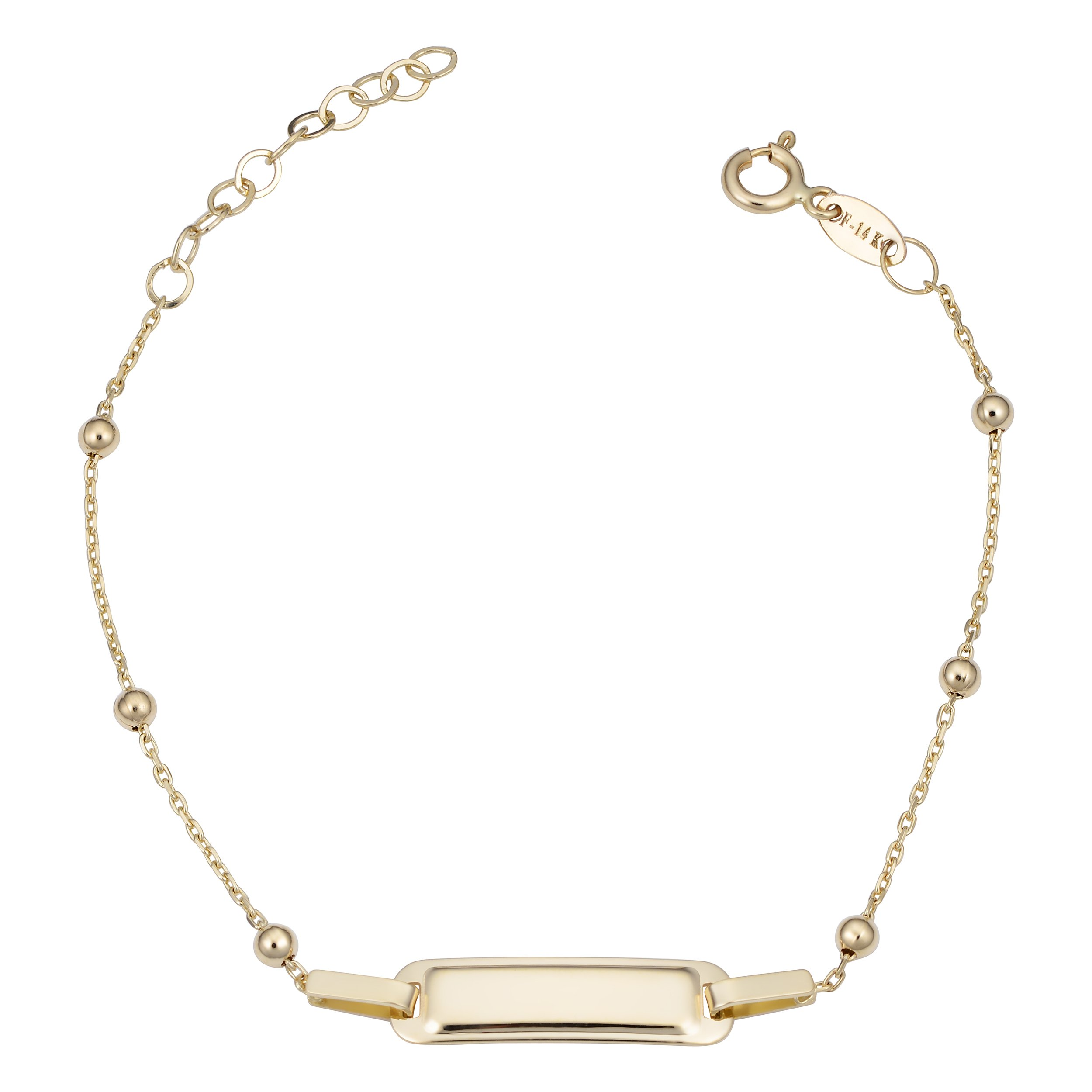 14k Yellow Gold Bead Station Id Bracelet (adjusts from 5.5 to 6.5 inch)