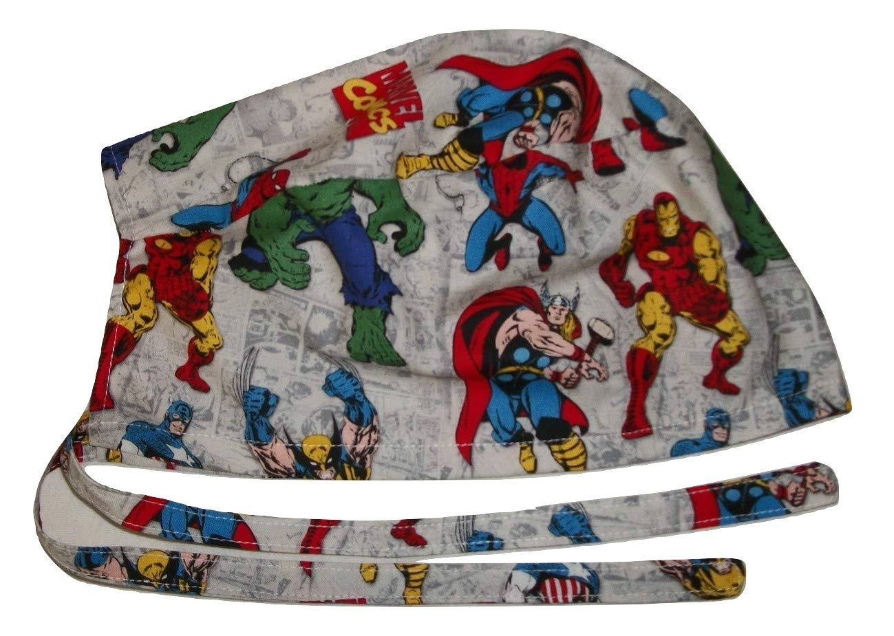 Scrub Hat Superheroes Comic Books Comics Cotton Fabric Nurse Cap Doctor ER Do-Rag Skull by Onebasispoint