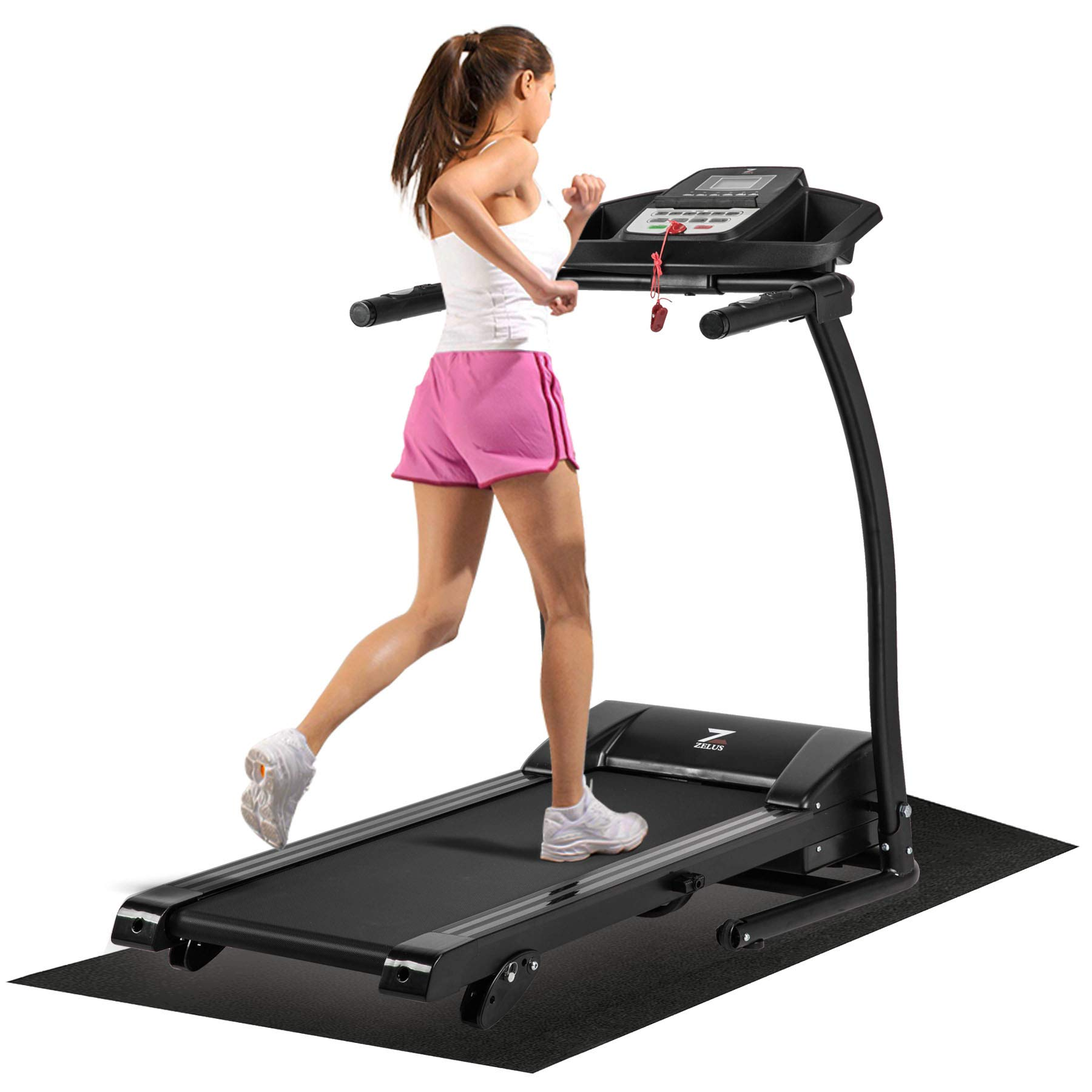 ZELUS 1100W Folding Treadmill Electric Motorized Running Machine with Downloadable Sports App Control Walking and Running, Cup Holder, MP3 Player and Wheels Easy (Upgraded Treadmill with Mat) by Z ZELUS