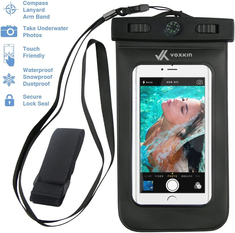 VK Voxkin Premium Quality Universal Waterproof Case with Armband, Compass, Lanyard - Best Water Proof, Dustproof, Snowproof Pouch Bag for iPhone 7, 6S, 6, Plus, 5S, Samsung Galaxy Phone S7, S6