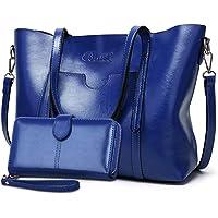 Bolsos de Mujer Bolso Bandolera Tote Grande De Hombro Bolsos PU Cuero Bolsos Billetera 2pcs Set (Azul)