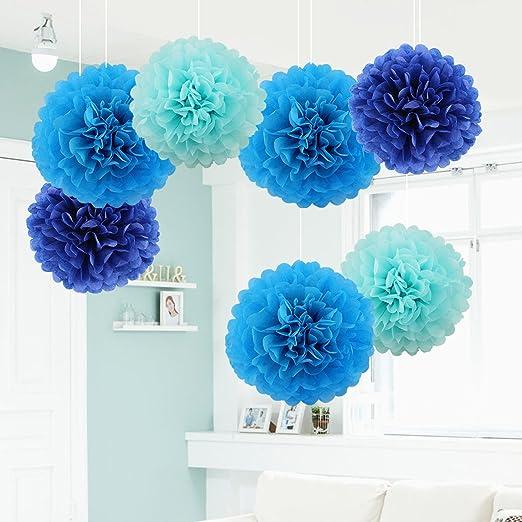 7 x Pompones de Papel de Seda Bola de Flor Papel Azul, Azul ...
