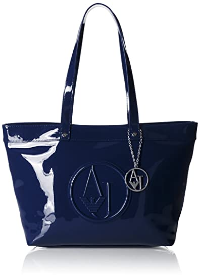 2a5b4ac1 Armani Jeans Patent Tote, Navy: Amazon.co.uk: Shoes & Bags