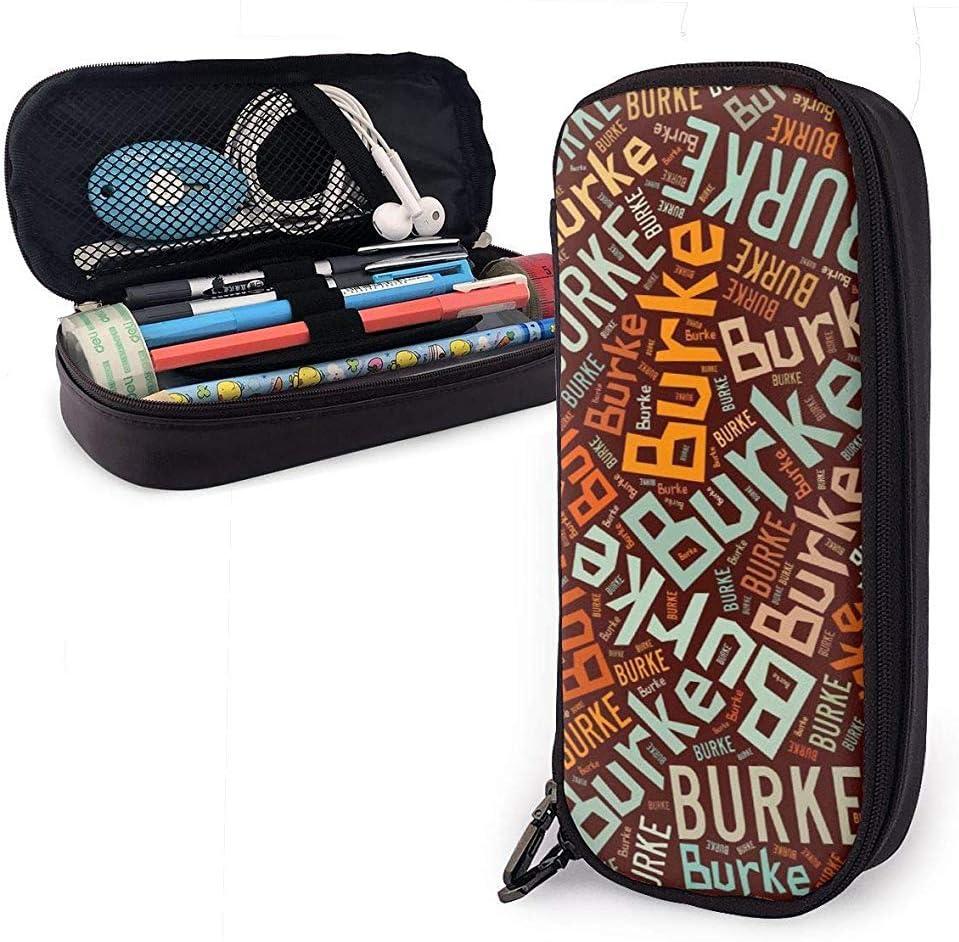 Burke - Nombre americano Estuche de cuero de alta capacidad Estuche de lápices Estuche de papelería Organizador Organizador Bolígrafo escolar Bolso de papelería para estudiantes