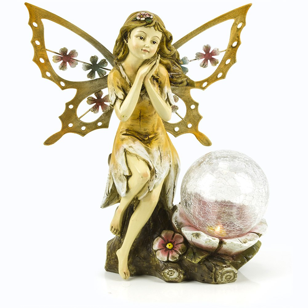 Fairy Solar Garden Light with Color Changing LED Crackled Glass Globe by Dawhud Direct