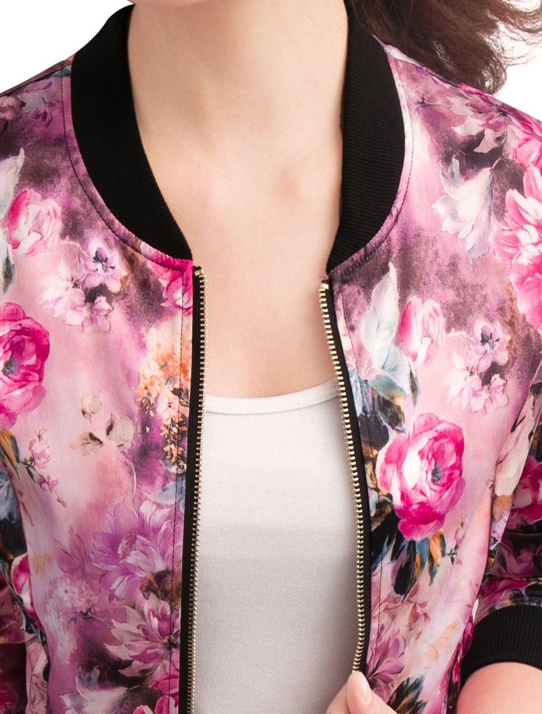 Allegra K Women's Long Sleeve Zip up Floral Print Casual Bomber Jacket Fuchsia S by Allegra K (Image #4)