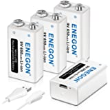 ENEGON 9V Direct USB Rechargeable Lithium-ion Battery with 2 in 1 Micro USB Cable for Micro Phone, Smoke Alarms, Electronic Toys, Walkie-Talkie and More Devices (4-Pack)