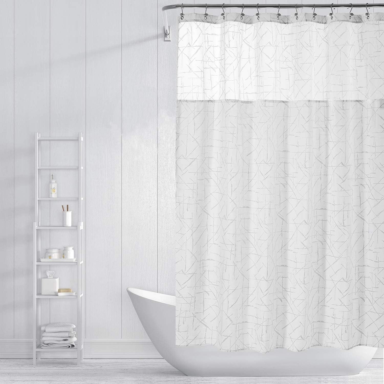 Glitter Champagne Xmas Shower Curtain Waterproof Bathroom Fabric Liner 12 Hooks