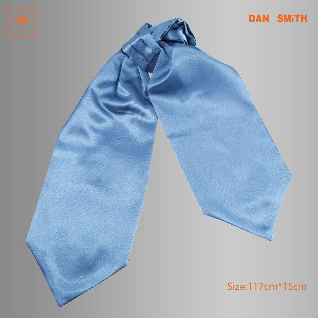 Steel Blue Solid Mens Cravat Ties Various Presents Idea Poly Excellent Fabric Ascot Work-utility Wedding Gift Dan Smith DRA7E01Q