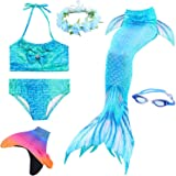 LAO&HAI Girls Mermaid Tail for Swimming and Fins Goggles Garlands Flower Headband 6 Piece