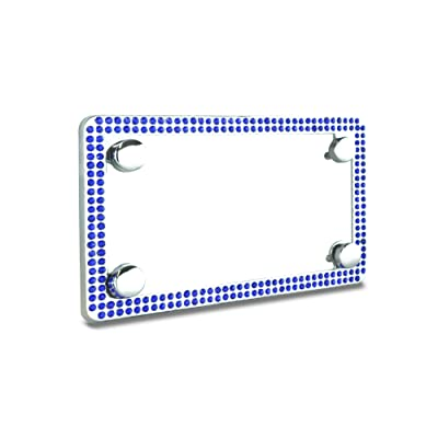 JR2 Premium Sparkling Crystal Motorcycle License Plate Frame with Cap (Blue): Automotive