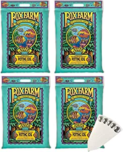 FoxFarm Ocean Forest Potting Soil Mix Indoor Outdoor for Garden and Plants   Plant Fertilizer   12 Quart + THCity Stake (4 Pack)