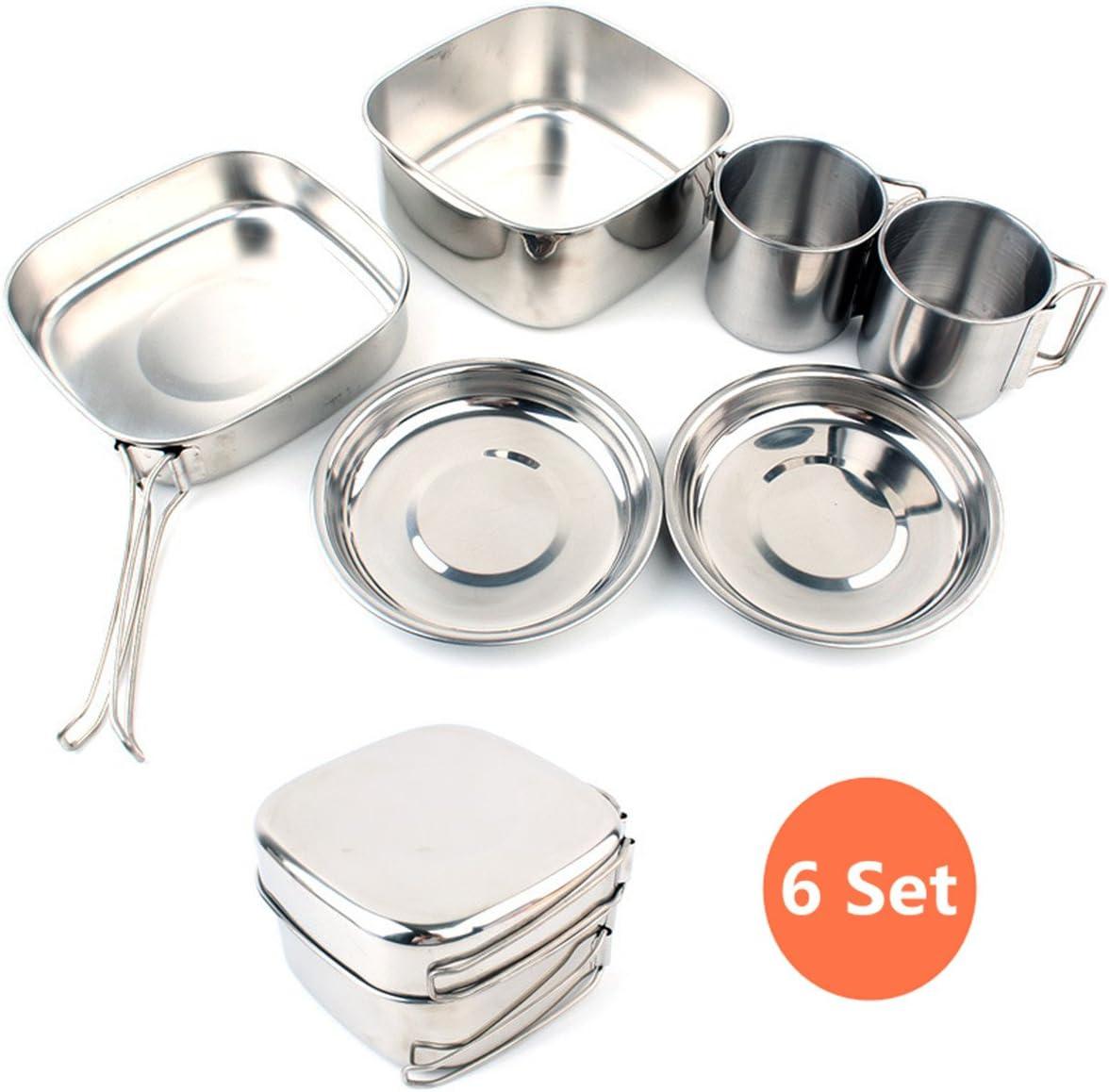 CZ-XING Juego de utensilios de cocina mini para camping de acero inoxidable, juego de 6 piezas para hacer senderismo al aire libre